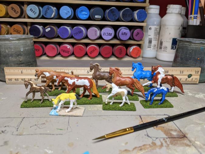 Custom Breyer Mini Whinnies - Martha Bechtel - Group Shot Scale