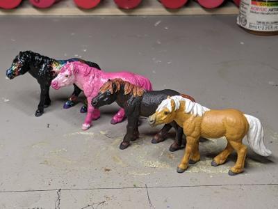 Custom Safari Ltd TOOB Standing Ponies - Martha Bechtel - Quad Line
