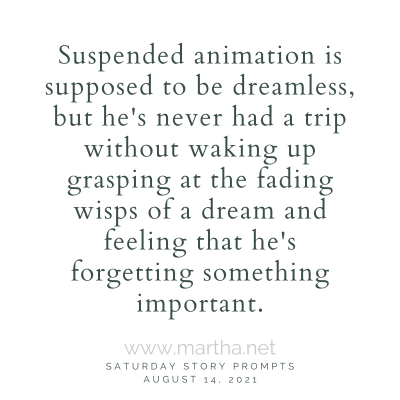 Suspended animation is supposed to be dreamless, but he's never had a trip without waking up grasping at the fading wisps of a dream and feeling that he's forgetting something important. Saturday Story Prompt. August 14, 2021