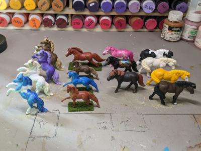 Custom Safari Ltd TOOB Ponies - Custom Order - Christa group shot