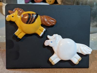 Fat Pony and Pegasus Magnets 120 14 - Martha Bechtel - Pony Pair