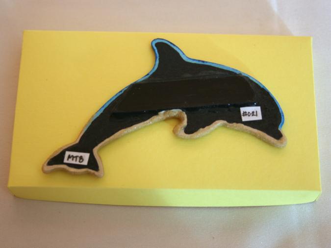 Wooden Dolphin Magnet #21 - Beach - Martha Bechtel - Back
