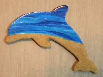 Wooden Dolphin Magnet #21 - Beach - Martha Bechtel - Tan