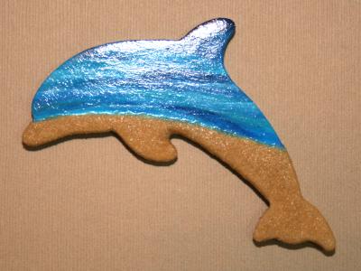 Wooden Dolphin Magnet #21 - Beach - Martha Bechtel - Tan Glossy