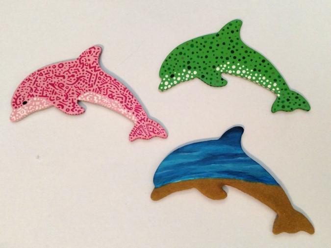 Wooden Dolphin Magnets 19 20 21 - Martha Bechtel - Front
