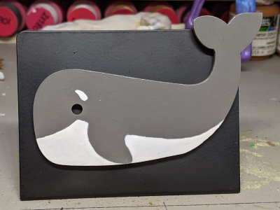 Wooden Whale Magnet - 001 Gray and White - Martha Bechtel - Front