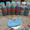 Wooden Whale Magnet - 003 Blue Water - Martha Bechtel - Colors