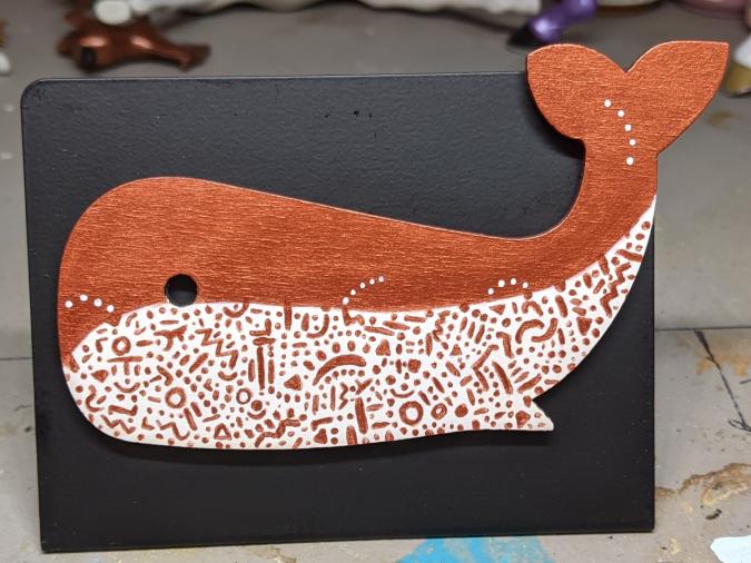 Wooden Whale Magnet - 005 Copper Doodle - Martha Bechtel - Front